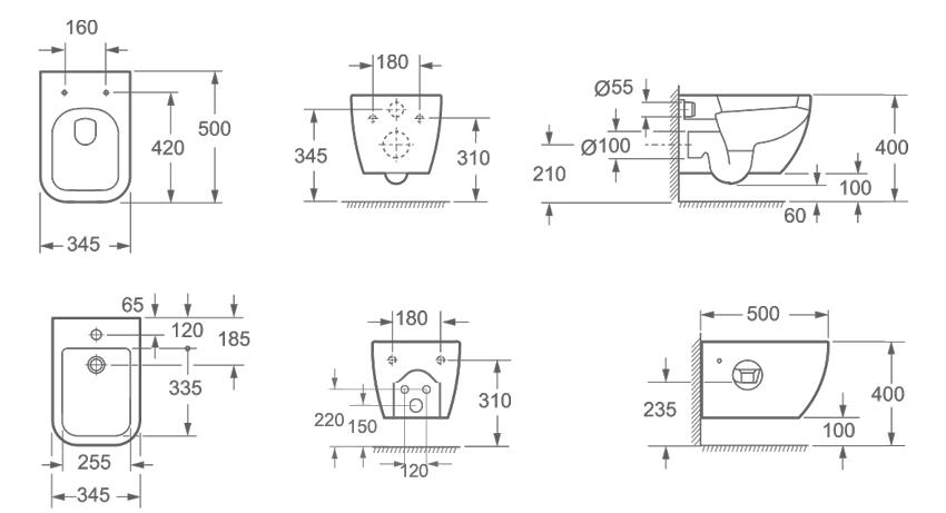 Sanitari sospesi serie klass idrodesignceramiche for Misure sanitari sospesi