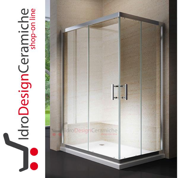 Box doccia rettangolare in cristallo da 6mm 195h design moderno idrodesignceramiche - Doccia design moderno ...