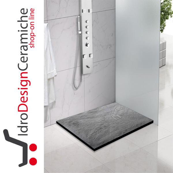 Piatto doccia rettangolare in marmoresina effetto ardesia for Doccia rettangolare
